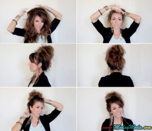Peinado cabello en forma de bollo desordenado