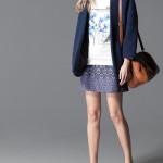 catalogo stradivarius mujer 2015 sudadera estampada falda azul